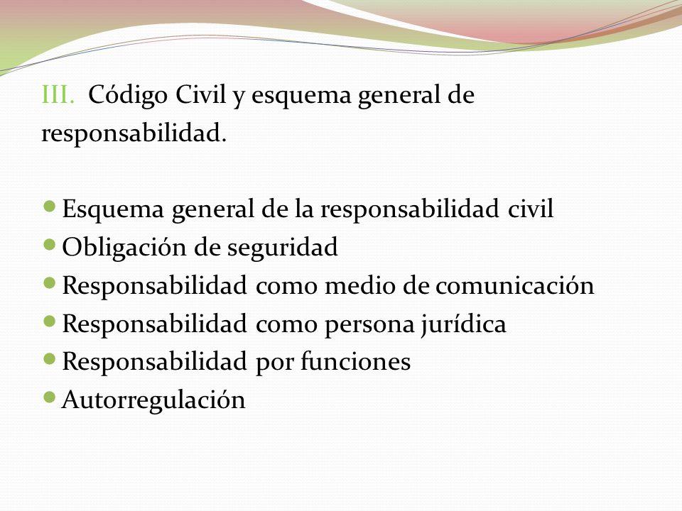 III. Código Civil y esquema general de responsabilidad. Esquema general de la responsabilidad civil Obligación de seguridad Responsabilidad como medio