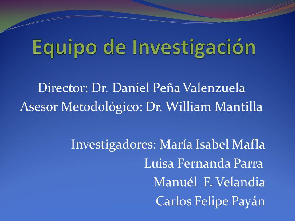 Director: Dr. Daniel Peña Valenzuela Asesor Metodológico: Dr. William Mantilla Investigadores: María Isabel Mafla Luisa Fernanda Parra Manuél F. Velan