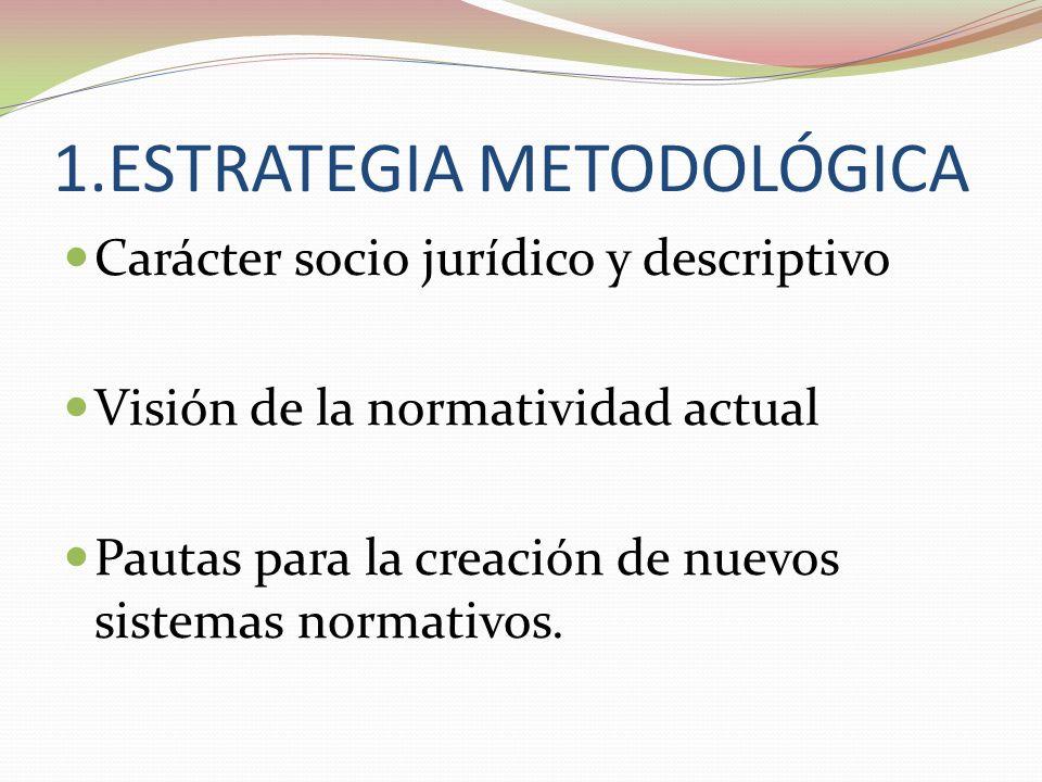 1.ESTRATEGIA METODOLÓGICA Carácter socio jurídico y descriptivo Visión de la normatividad actual Pautas para la creación de nuevos sistemas normativos