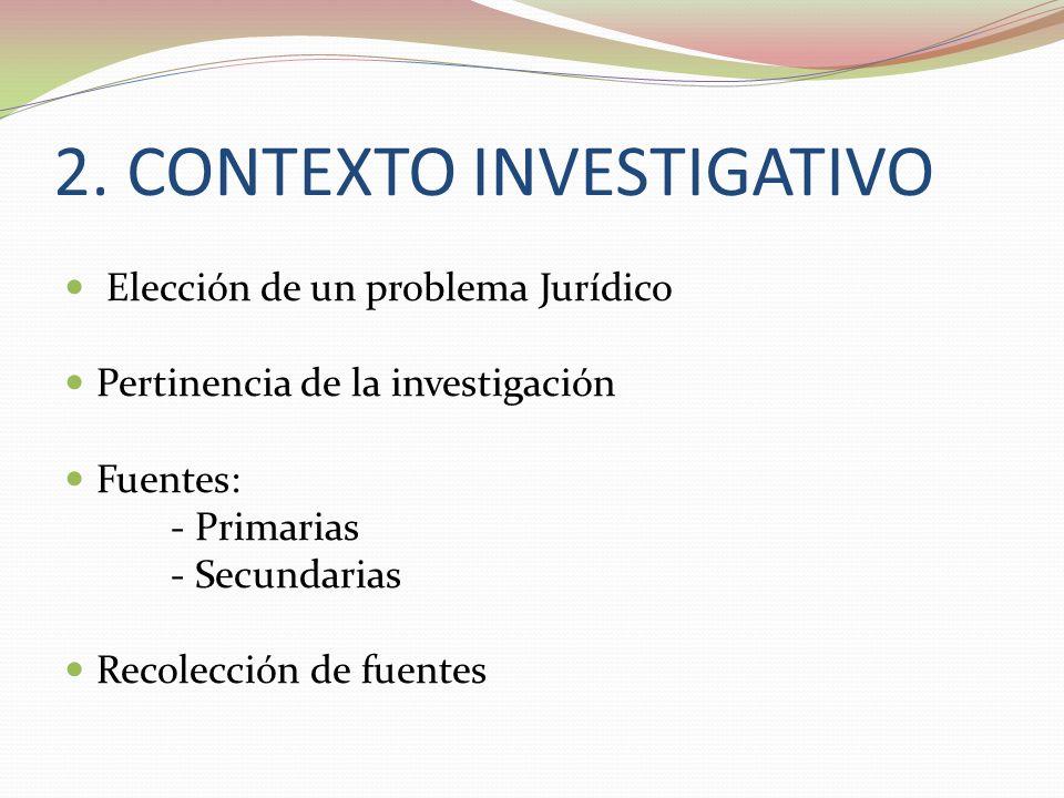 2. CONTEXTO INVESTIGATIVO Elección de un problema Jurídico Pertinencia de la investigación Fuentes: - Primarias - Secundarias Recolección de fuentes