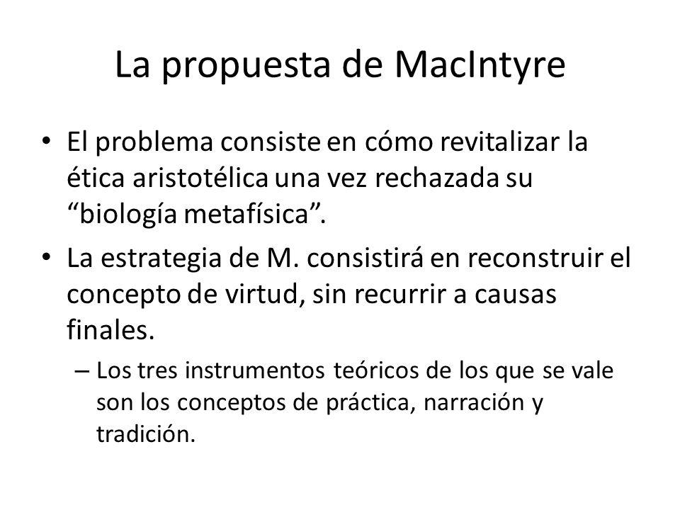 La propuesta de MacIntyre El problema consiste en cómo revitalizar la ética aristotélica una vez rechazada su biología metafísica. La estrategia de M.