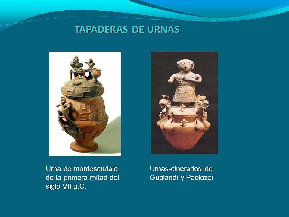 TAPADERAS DE URNAS Urna de montescudaio, de la primera mitad del siglo VII a.C. Urnas-cinerarios de Gualandi y Paolozzi