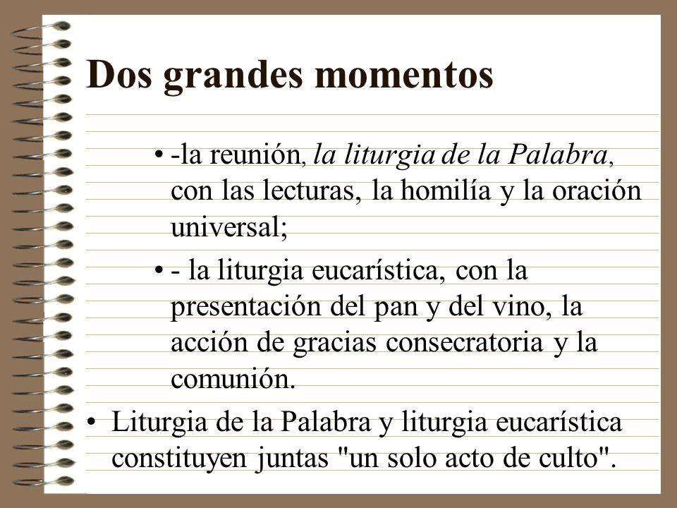 Dos grandes momentos -la reunión, la liturgia de la Palabra, con las lecturas, la homilía y la oración universal; - la liturgia eucarística, con la pr