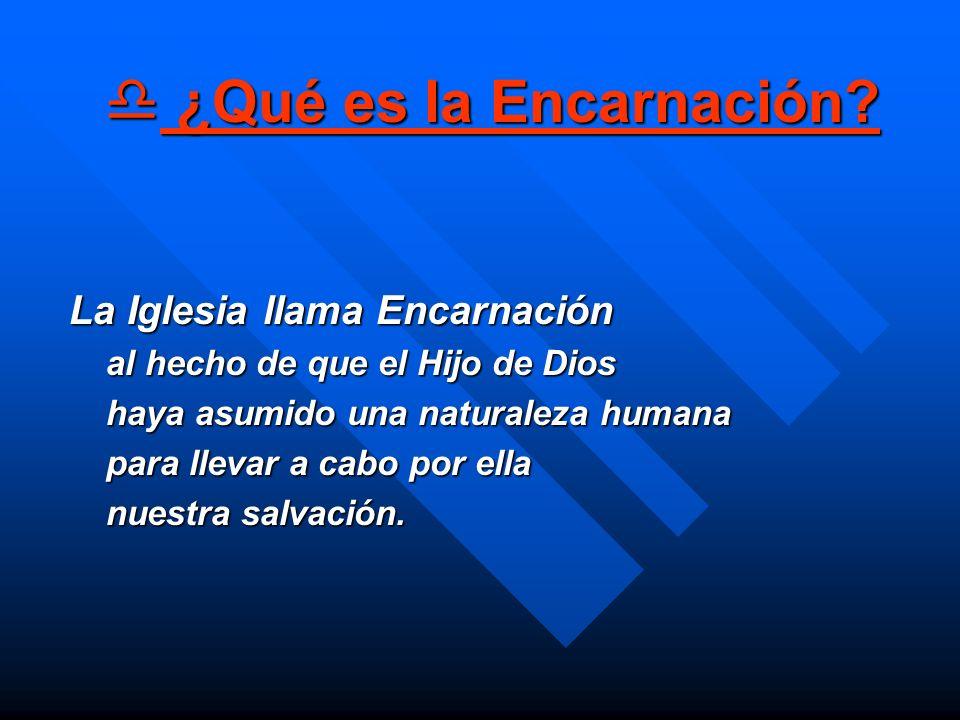 ¿Qué es la Encarnación? ¿Qué es la Encarnación? La Iglesia llama Encarnación La Iglesia llama Encarnación al hecho de que el Hijo de Dios haya asumido
