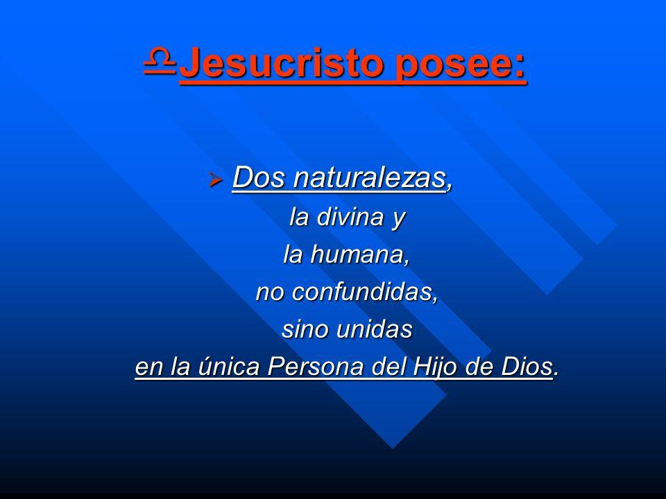 Jesucristo posee: Jesucristo posee: Dos naturalezas, Dos naturalezas, la divina y la humana, no confundidas, sino unidas en la única Persona del Hijo