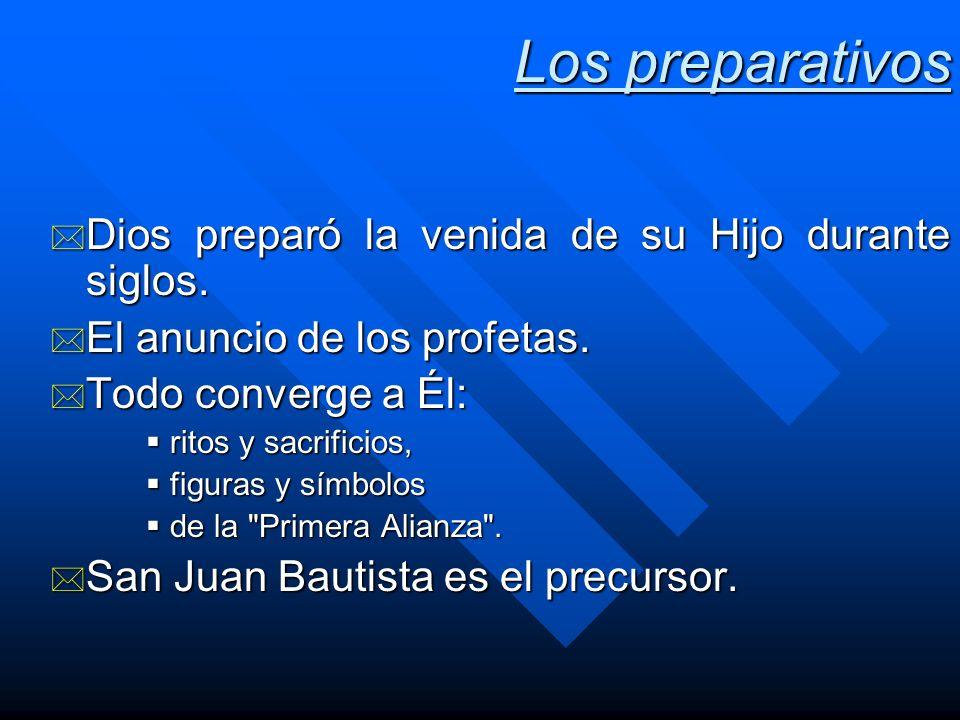 Los preparativos * Dios preparó la venida de su Hijo durante siglos. * El anuncio de los profetas. * Todo converge a Él: ritos y sacrificios, ritos y