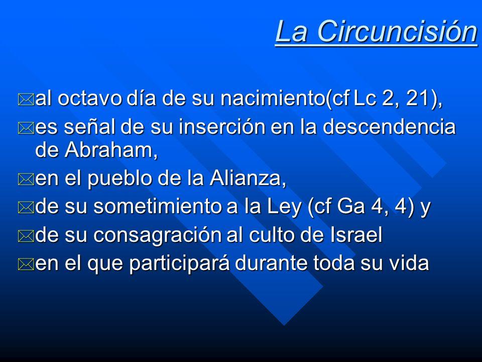 La Circuncisión * al octavo día de su nacimiento(cf Lc 2, 21), * es señal de su inserción en la descendencia de Abraham, * en el pueblo de la Alianza,