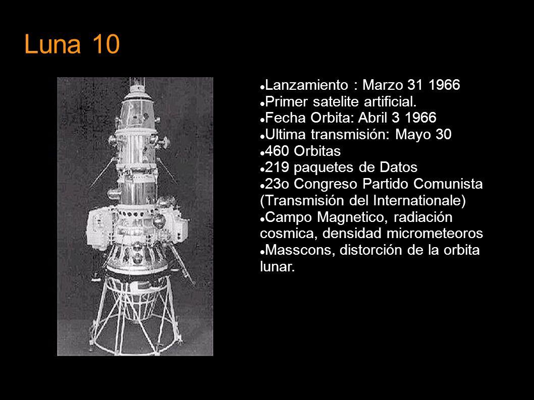 Luna 10 Lanzamiento : Marzo 31 1966 Primer satelite artificial. Fecha Orbita: Abril 3 1966 Ultima transmisión: Mayo 30 460 Orbitas 219 paquetes de Dat