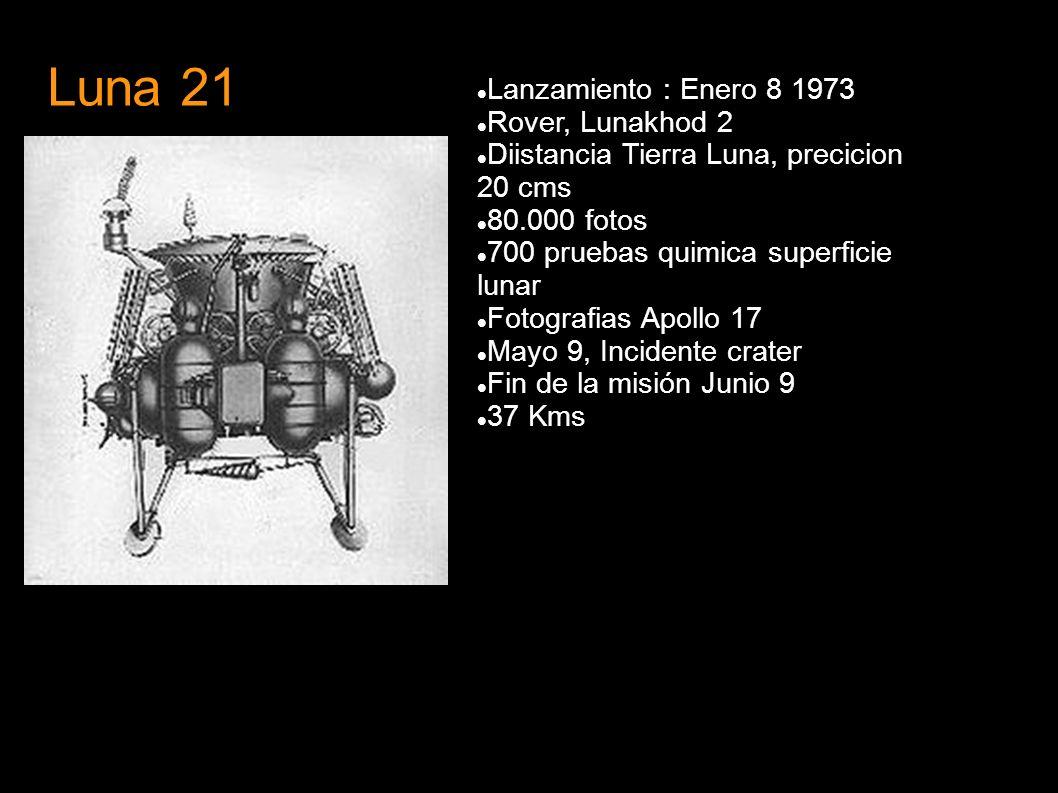 Luna 21 Lanzamiento : Enero 8 1973 Rover, Lunakhod 2 Diistancia Tierra Luna, precicion 20 cms 80.000 fotos 700 pruebas quimica superficie lunar Fotogr
