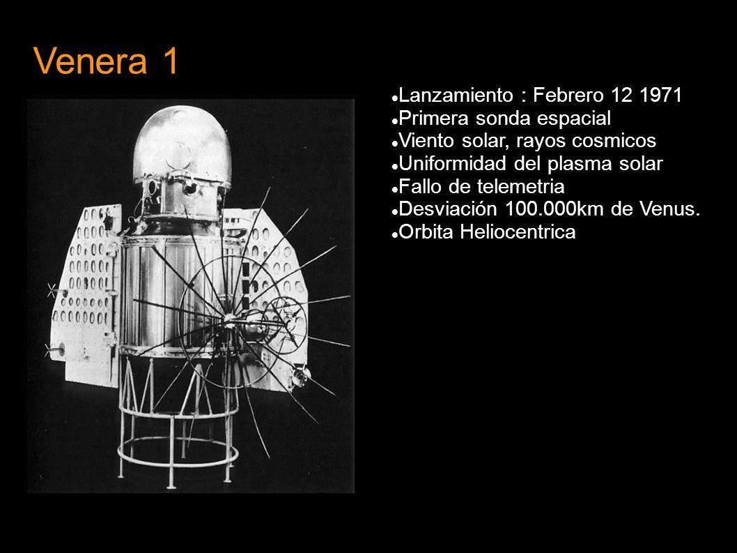 Venera 1 Lanzamiento : Febrero 12 1971 Primera sonda espacial Viento solar, rayos cosmicos Uniformidad del plasma solar Fallo de telemetria Desviación