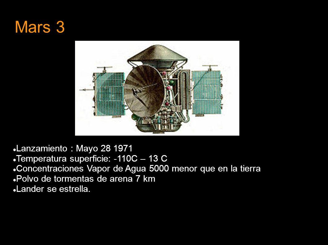 Mars 3 Lanzamiento : Mayo 28 1971 Temperatura superficie: -110C – 13 C Concentraciones Vapor de Agua 5000 menor que en la tierra Polvo de tormentas de