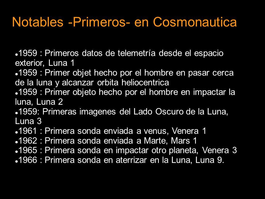 Notables -Primeros- en Cosmonautica 1959 : Primeros datos de telemetría desde el espacio exterior, Luna 1 1959 : Primer objet hecho por el hombre en p