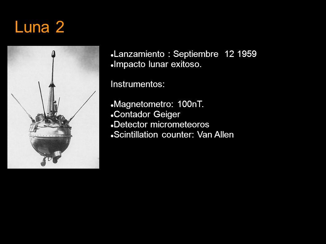 Luna 2 Lanzamiento : Septiembre 12 1959 Impacto lunar exitoso. Instrumentos: Magnetometro: 100nT. Contador Geiger Detector micrometeoros Scintillation