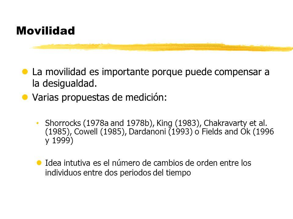 Movilidad lLa movilidad es importante porque puede compensar a la desigualdad. lVarias propuestas de medición: Shorrocks (1978a and 1978b), King (1983