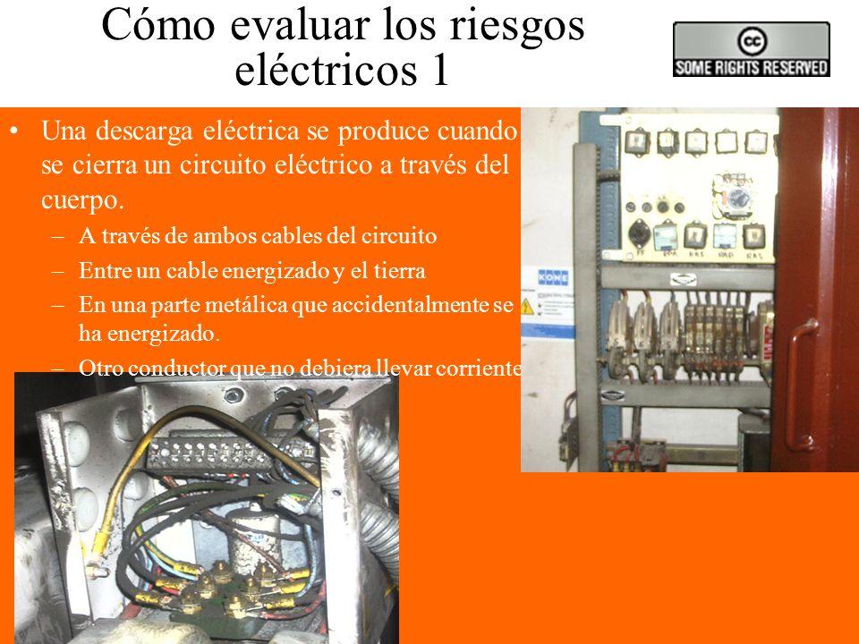 Cómo reconocer los riesgos eléctricos (2) Defectos de aislamiento Conexión a tierra defectuosa Sobrecargas Lugares húmedos o mojados Riesgos adicional