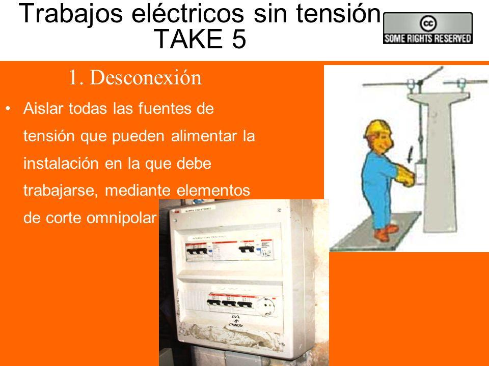 Prácticas de trabajo seguras 1 TAKE 5 1. Apertura de los circuitos. 2. Bloqueo de los aparatos de corte y señalización. 3. Verificar ausencia de tensi