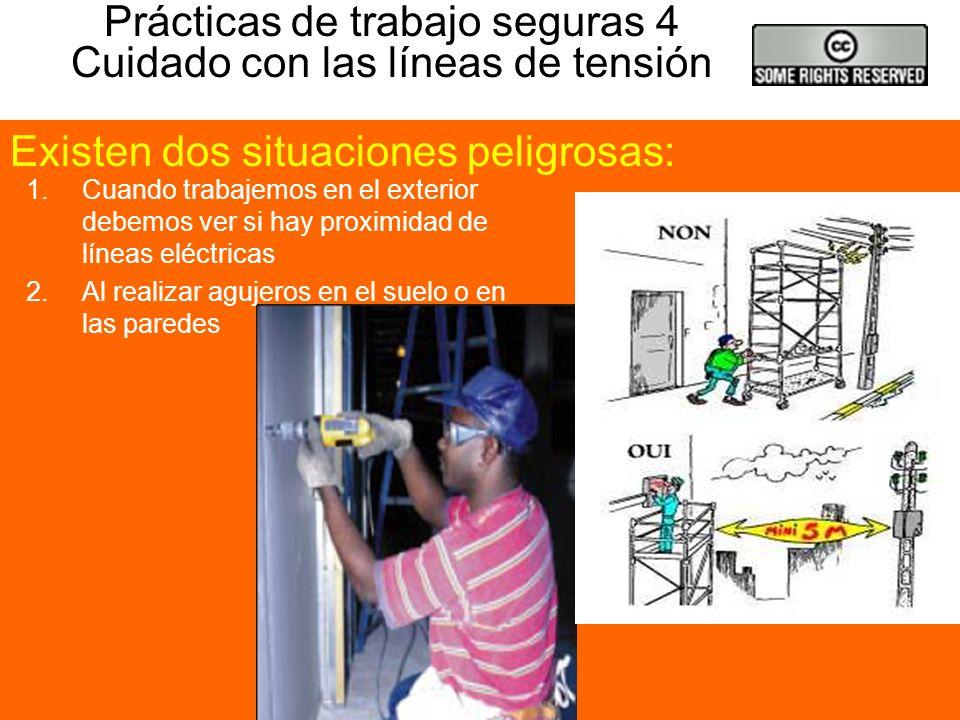 Prácticas de trabajo seguras 3 Trabajos en mojado 1.Cuando utilicemos herramientas eléctricas en suelos con agua o húmedos Consideraremos un trabajo e