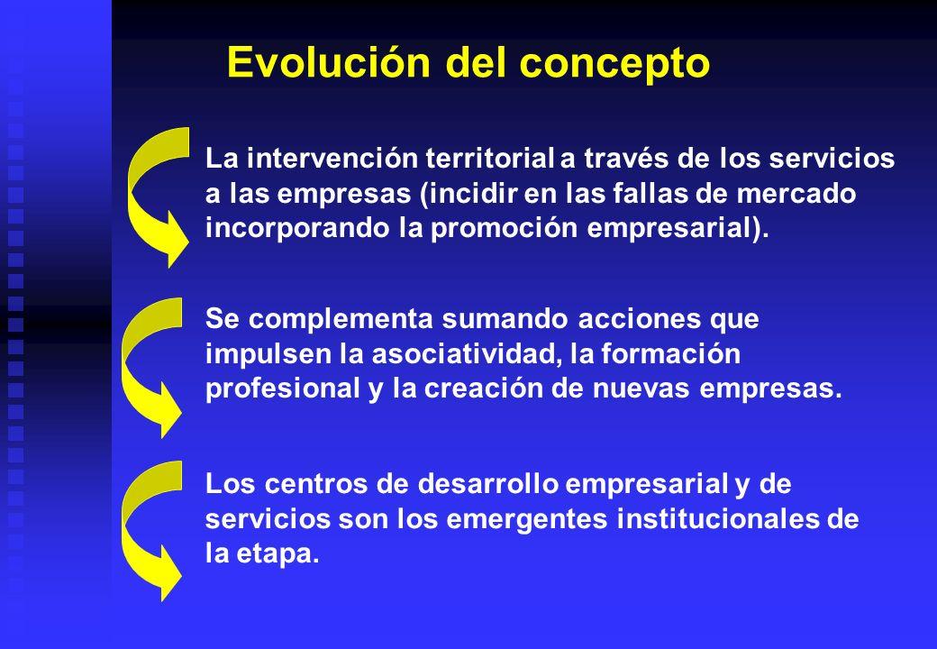 La intervención territorial a través de los servicios a las empresas (incidir en las fallas de mercado incorporando la promoción empresarial). Se comp