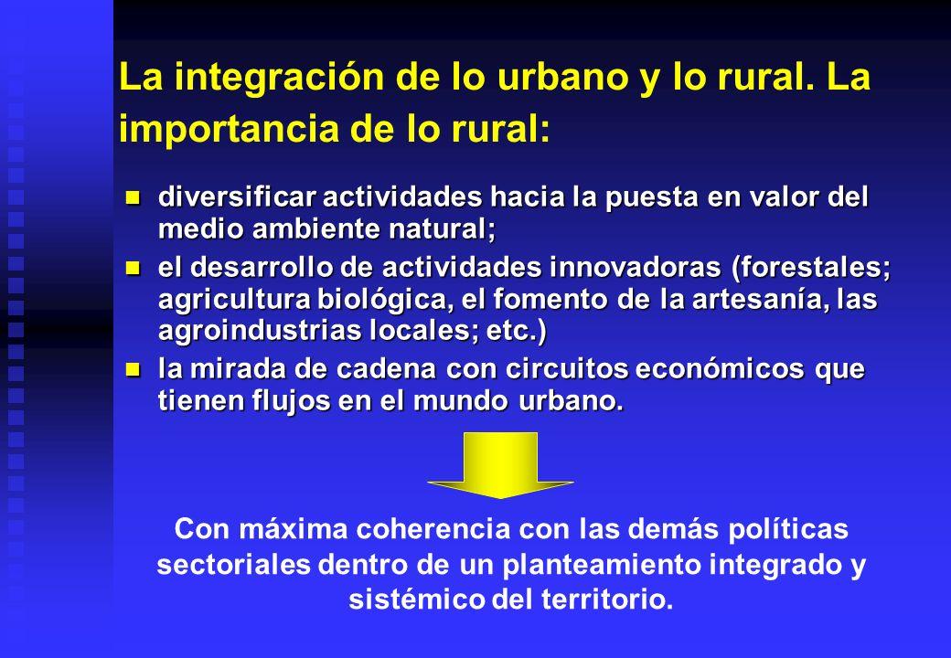 La integración de lo urbano y lo rural. La importancia de lo rural: diversificar actividades hacia la puesta en valor del medio ambiente natural; dive