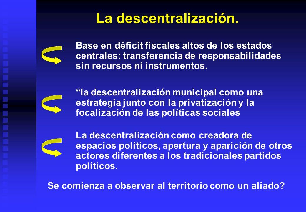 La descentralización. Base en déficit fiscales altos de los estados centrales: transferencia de responsabilidades sin recursos ni instrumentos. la des
