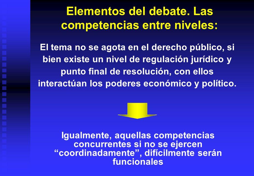 Elementos del debate. Las competencias entre niveles: El tema no se agota en el derecho público, si bien existe un nivel de regulación jurídico y punt