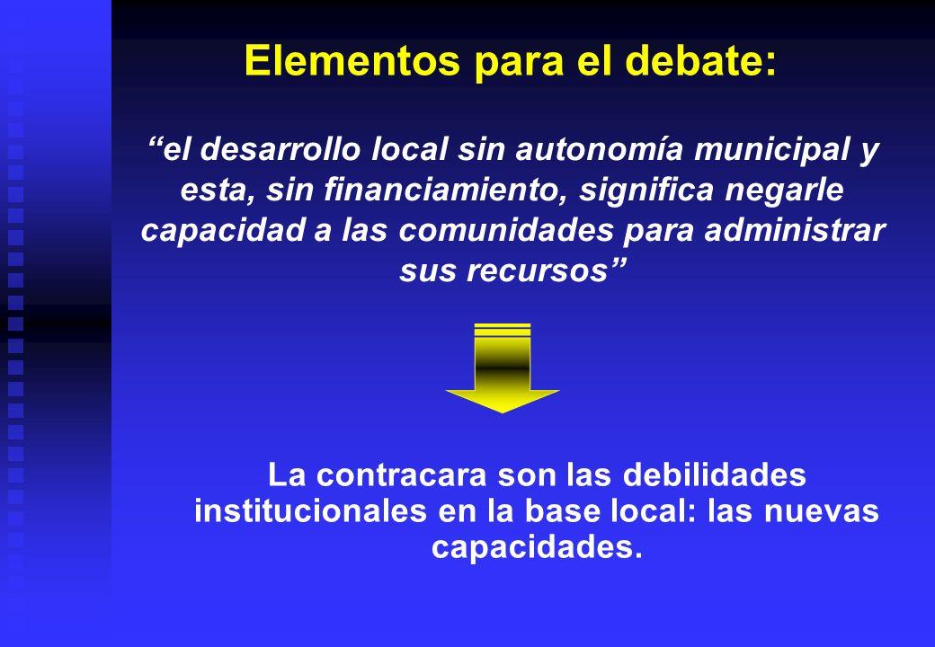 Elementos para el debate: La contracara son las debilidades institucionales en la base local: las nuevas capacidades. el desarrollo local sin autonomí