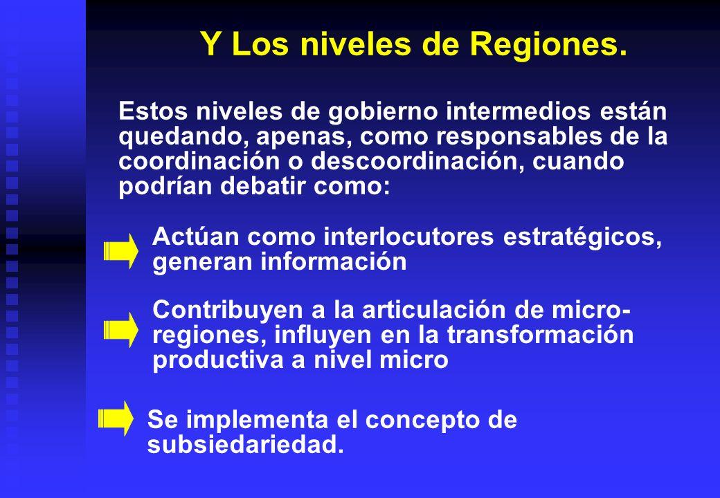 Y Los niveles de Regiones. Estos niveles de gobierno intermedios están quedando, apenas, como responsables de la coordinación o descoordinación, cuand