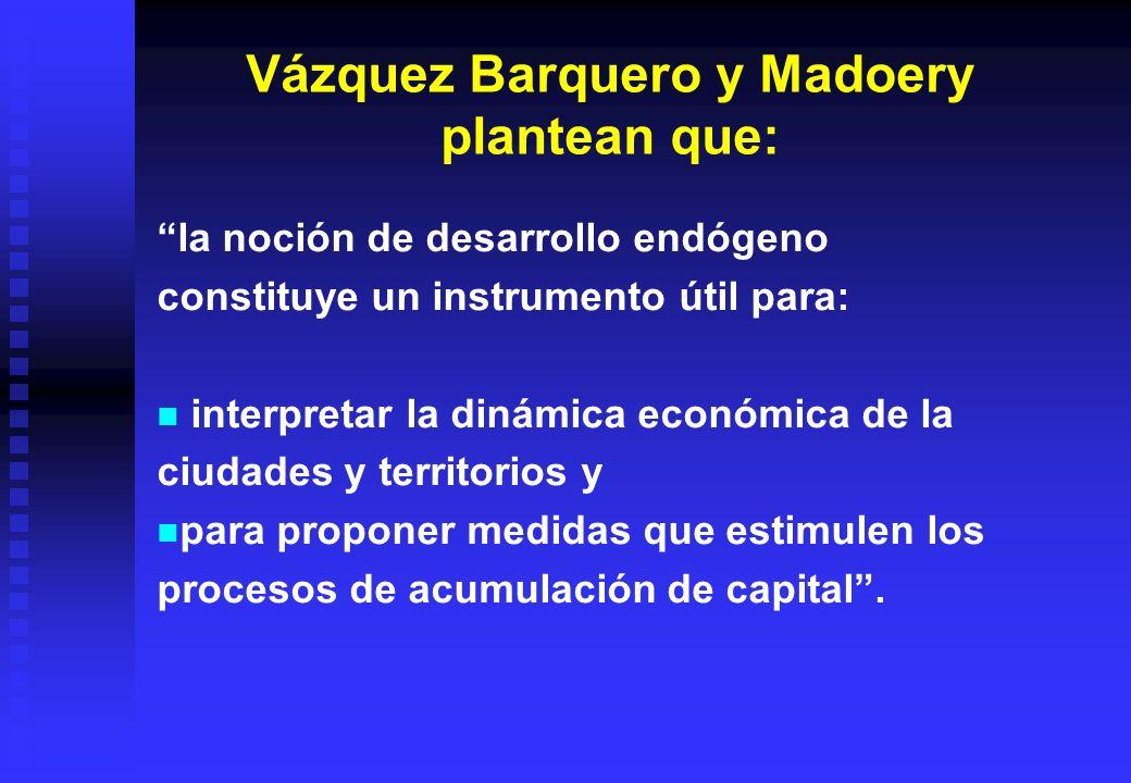 Vázquez Barquero y Madoery plantean que: la noción de desarrollo endógeno constituye un instrumento útil para: interpretar la dinámica económica de la