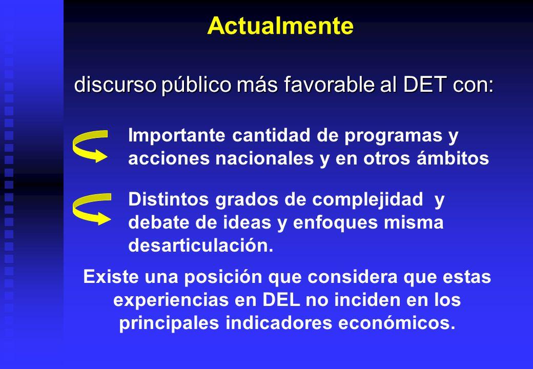 Actualmente discurso público más favorable al DET con: Importante cantidad de programas y acciones nacionales y en otros ámbitos Distintos grados de c