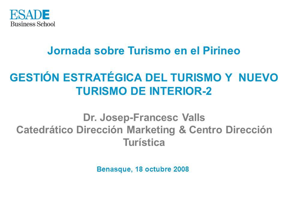 Jornada sobre Turismo en el Pirineo GESTIÓN ESTRATÉGICA DEL TURISMO Y NUEVO TURISMO DE INTERIOR-2 Dr. Josep-Francesc Valls Catedrático Dirección Marke