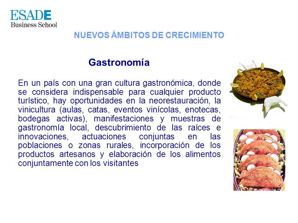 Gastronomía En un país con una gran cultura gastronómica, donde se considera indispensable para cualquier producto turístico, hay oportunidades en la