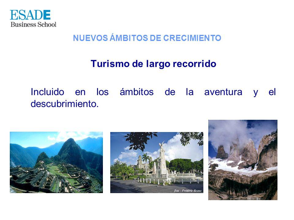 Turismo de largo recorrido Incluido en los ámbitos de la aventura y el descubrimiento. NUEVOS ÁMBITOS DE CRECIMIENTO