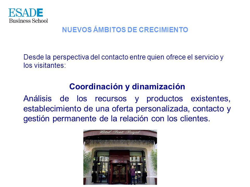 Desde la perspectiva del contacto entre quien ofrece el servicio y los visitantes: Coordinación y dinamización Análisis de los recursos y productos ex