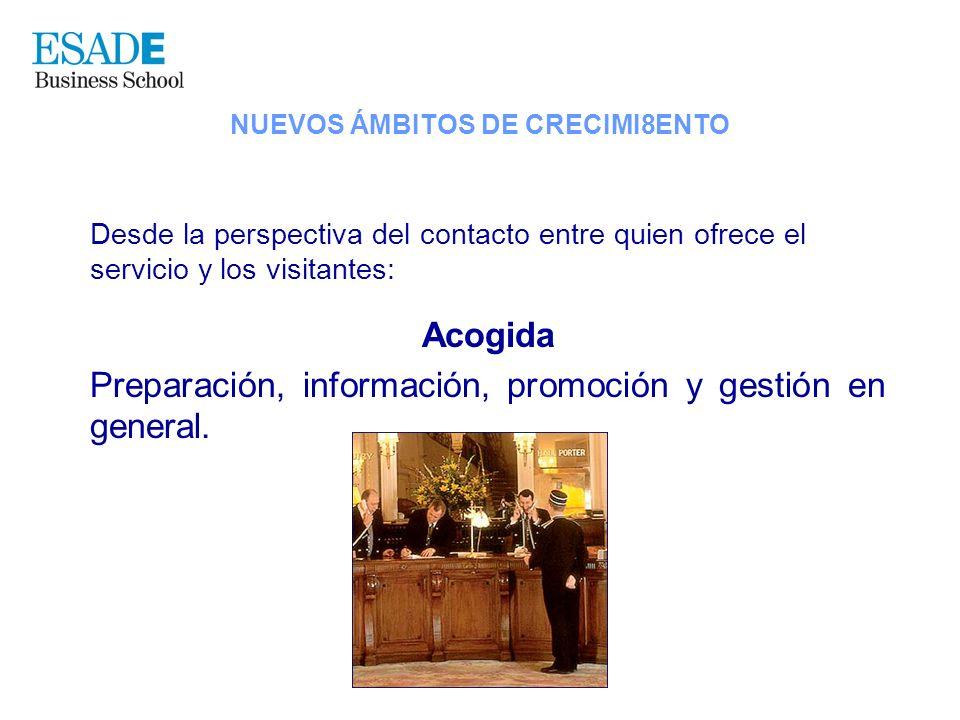 Desde la perspectiva del contacto entre quien ofrece el servicio y los visitantes: Acogida Preparación, información, promoción y gestión en general. N