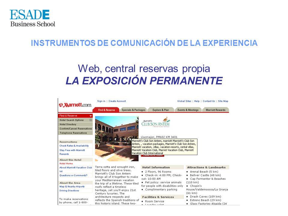 INSTRUMENTOS DE COMUNICACIÓN DE LA EXPERIENCIA Web, central reservas propia LA EXPOSICIÓN PERMANENTE