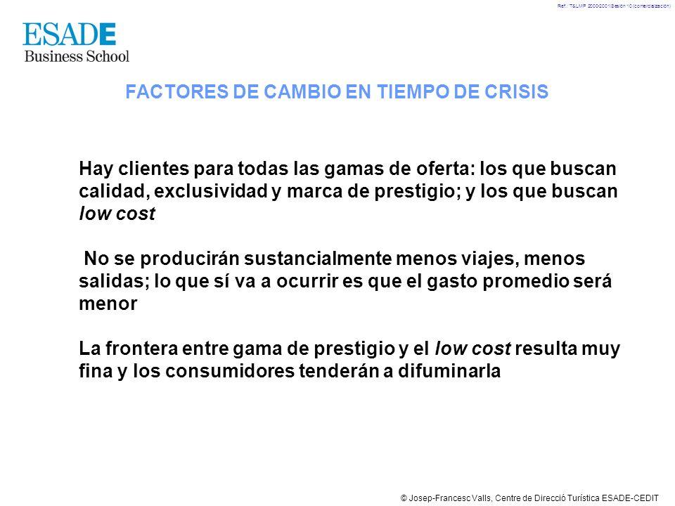© Josep-Francesc Valls, Centre de Direcció Turística ESADE-CEDIT Ref.: T&LMP 2000-2001\Sesión 10 (comercialización) FACTORES DE CAMBIO EN TIEMPO DE CR
