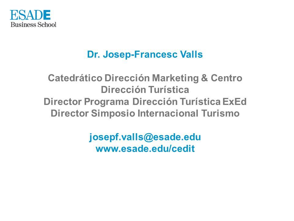 Dr. Josep-Francesc Valls Catedrático Dirección Marketing & Centro Dirección Turística Director Programa Dirección Turística ExEd Director Simposio Int