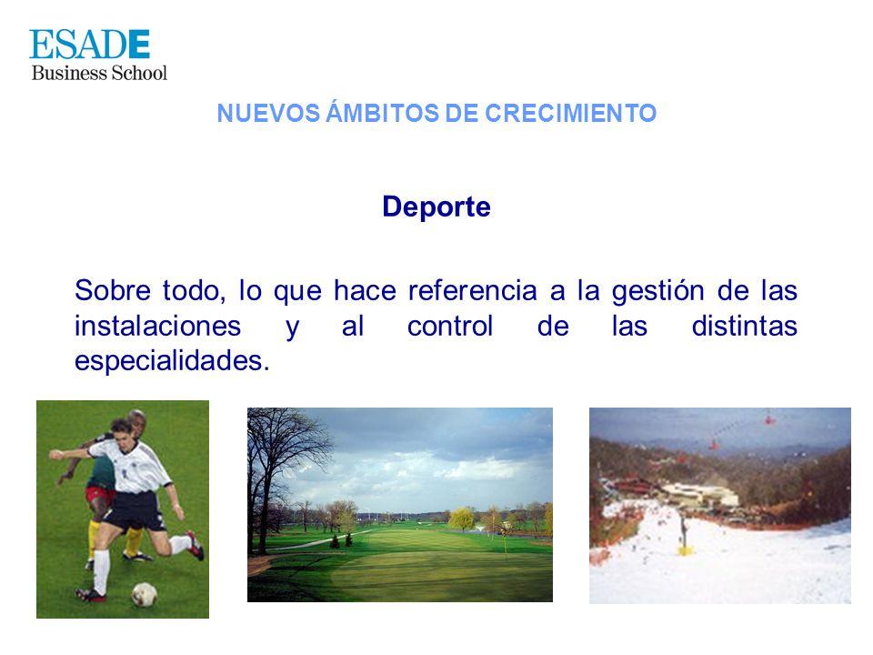 Deporte Sobre todo, lo que hace referencia a la gestión de las instalaciones y al control de las distintas especialidades. NUEVOS ÁMBITOS DE CRECIMIEN