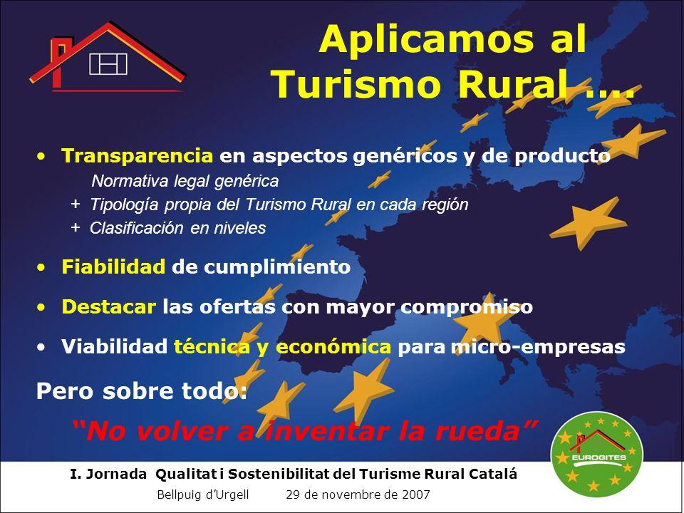 I. Jornada Qualitat i Sostenibilitat del Turisme Rural Catalá Bellpuig dUrgell 29 de novembre de 2007 Transparencia en aspectos genéricos y de product