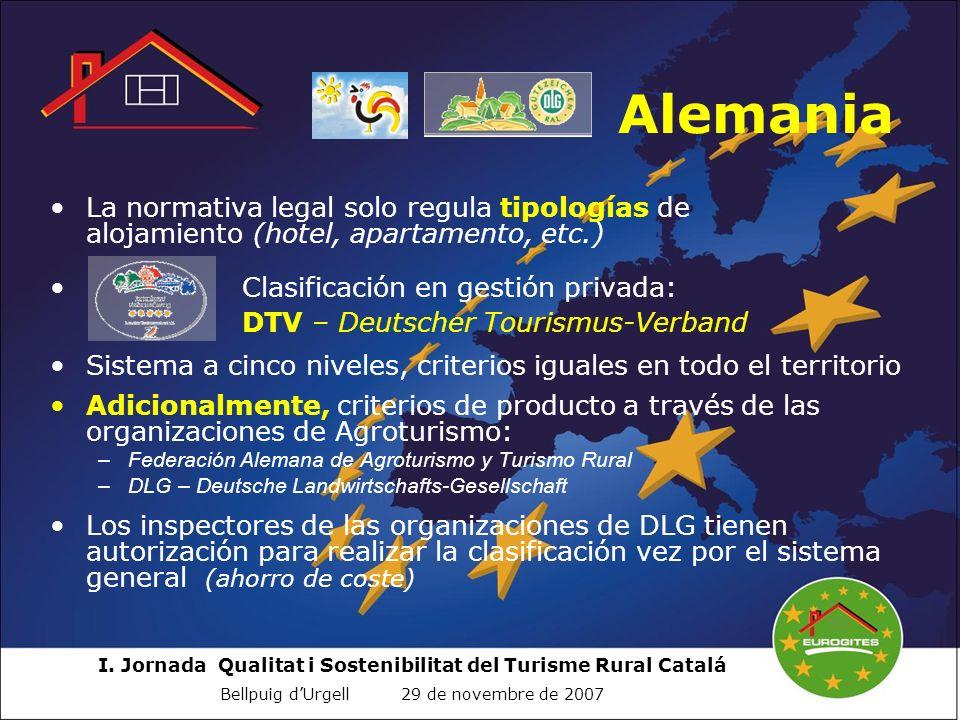 I. Jornada Qualitat i Sostenibilitat del Turisme Rural Catalá Bellpuig dUrgell 29 de novembre de 2007 Alemania La normativa legal solo regula tipologí