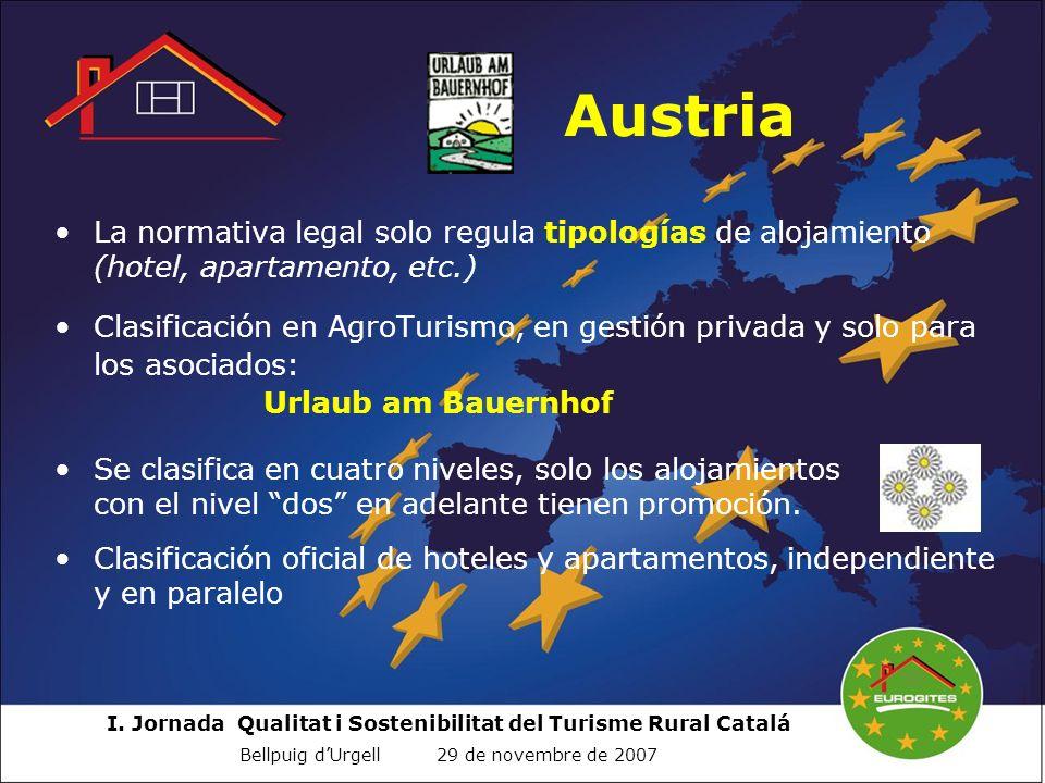 I. Jornada Qualitat i Sostenibilitat del Turisme Rural Catalá Bellpuig dUrgell 29 de novembre de 2007 Austria La normativa legal solo regula tipología