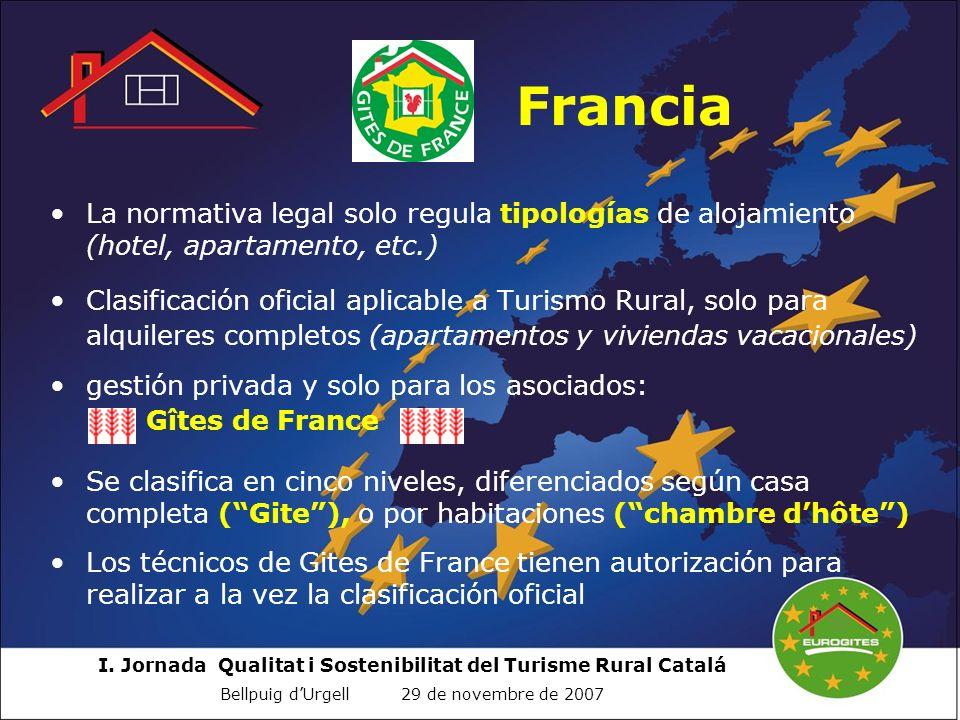 I. Jornada Qualitat i Sostenibilitat del Turisme Rural Catalá Bellpuig dUrgell 29 de novembre de 2007 Francia La normativa legal solo regula tipología