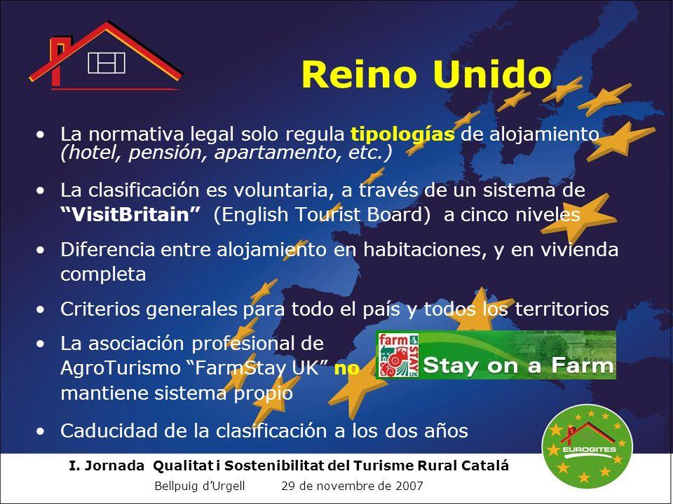 I. Jornada Qualitat i Sostenibilitat del Turisme Rural Catalá Bellpuig dUrgell 29 de novembre de 2007 Reino Unido La normativa legal solo regula tipol