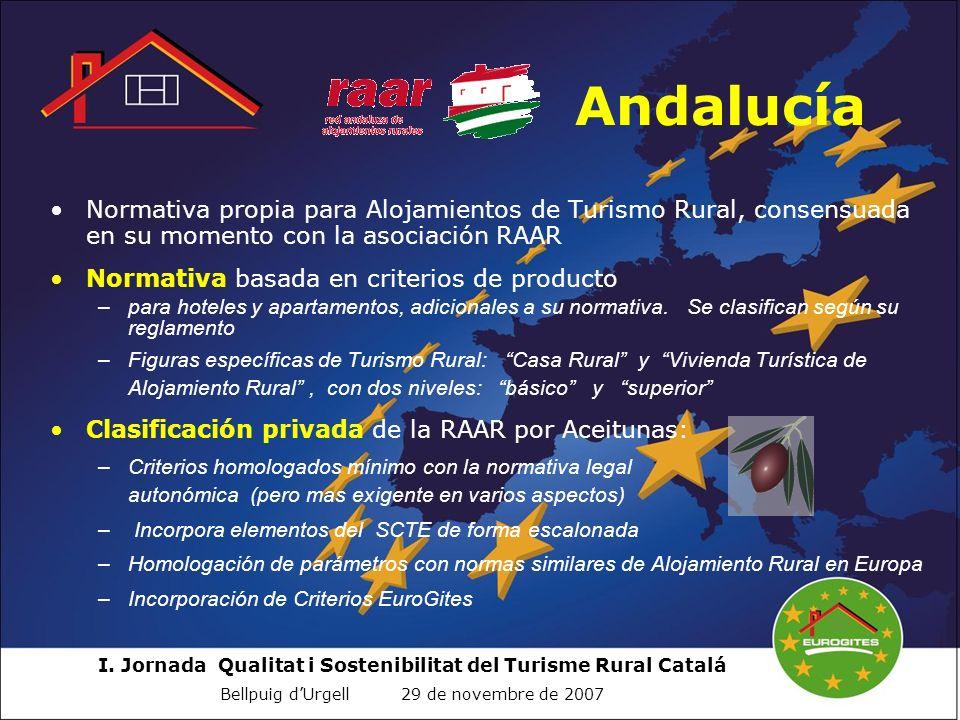 I. Jornada Qualitat i Sostenibilitat del Turisme Rural Catalá Bellpuig dUrgell 29 de novembre de 2007 Andalucía Normativa propia para Alojamientos de
