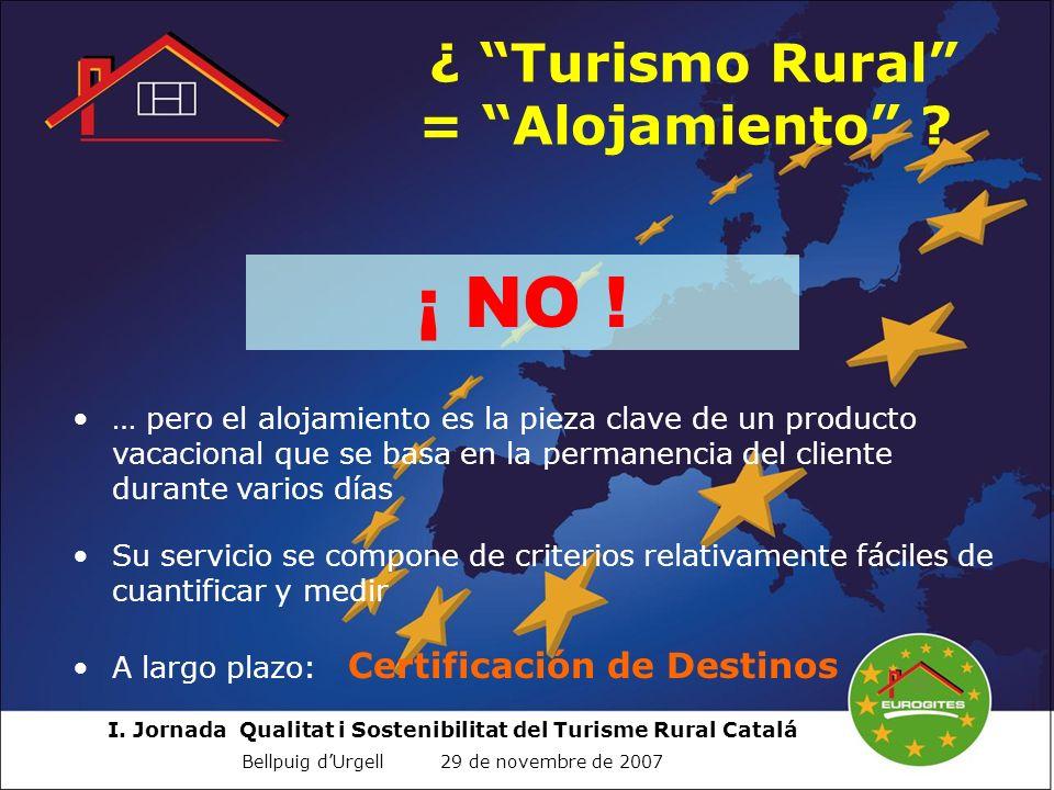 I. Jornada Qualitat i Sostenibilitat del Turisme Rural Catalá Bellpuig dUrgell 29 de novembre de 2007 ¿ Turismo Rural = Alojamiento ? ¡ NO ! … pero el