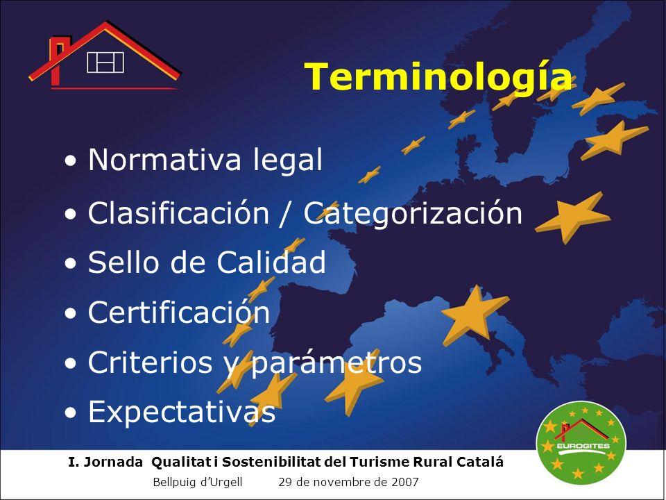 I. Jornada Qualitat i Sostenibilitat del Turisme Rural Catalá Bellpuig dUrgell 29 de novembre de 2007 Terminología Normativa legal Clasificación / Cat