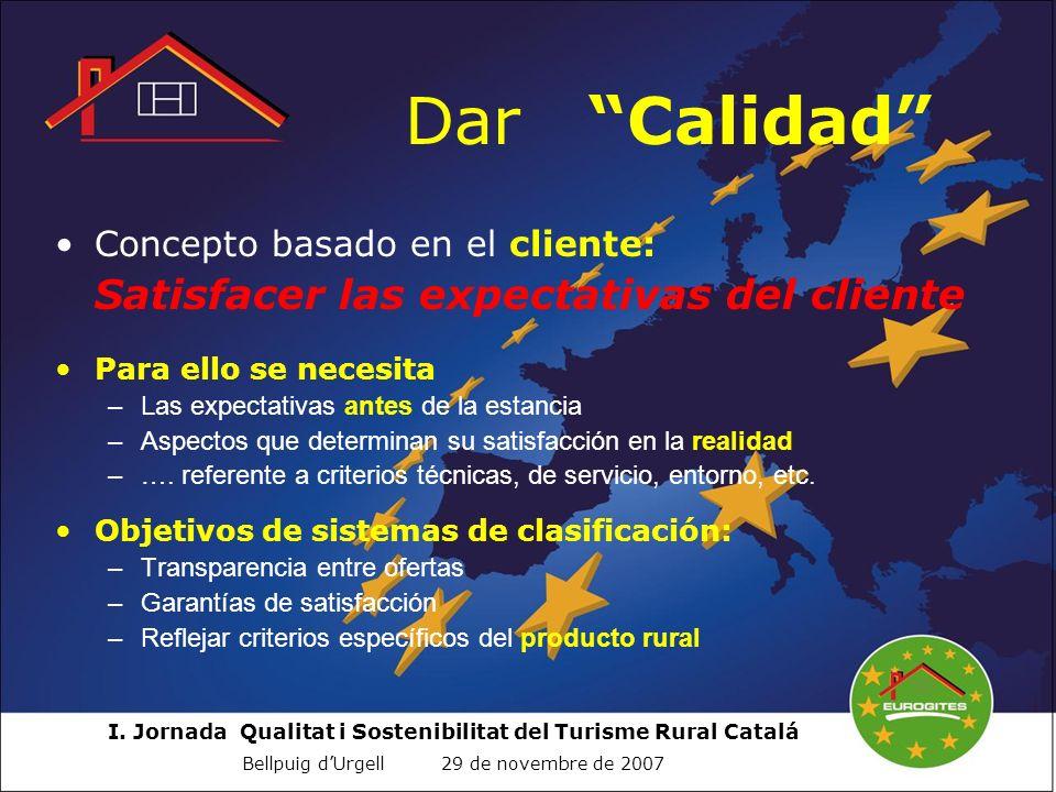 I. Jornada Qualitat i Sostenibilitat del Turisme Rural Catalá Bellpuig dUrgell 29 de novembre de 2007 Dar Calidad Concepto basado en el cliente: Satis