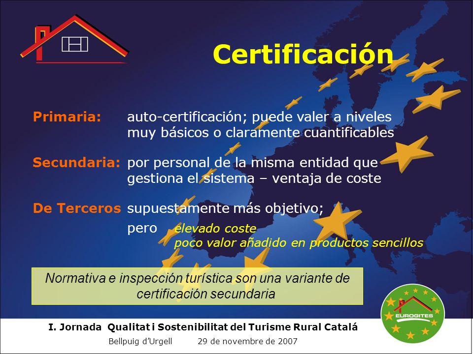 I. Jornada Qualitat i Sostenibilitat del Turisme Rural Catalá Bellpuig dUrgell 29 de novembre de 2007 Certificación Primaria:auto-certificación; puede