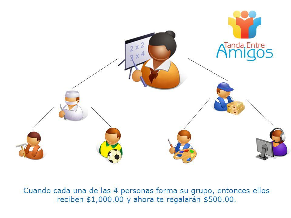 Cuando cada una de las 4 personas forma su grupo, entonces ellos reciben $1,000.00 y ahora te regalarán $500.00.