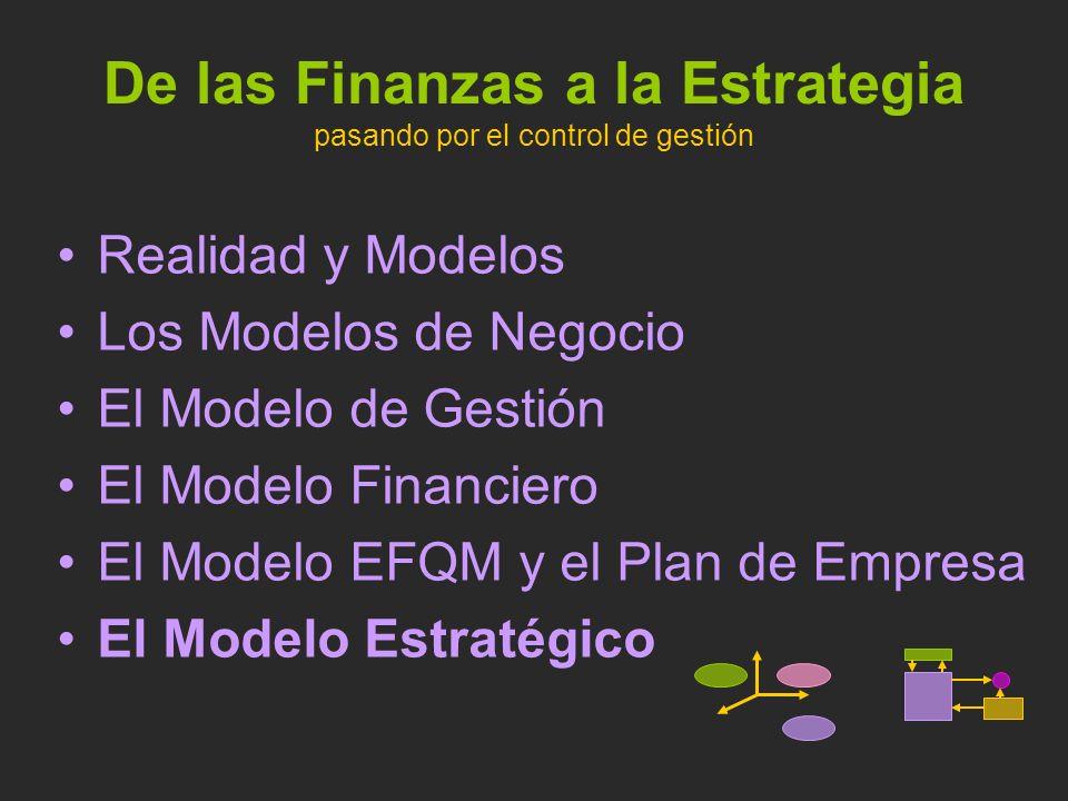 De las Finanzas a la Estrategia pasando por el control de gestión Realidad y Modelos Los Modelos de Negocio El Modelo de Gestión El Modelo Financiero